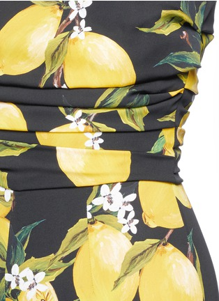 Detail View - Click To Enlarge - Dolce & Gabbana - Lemon print ruched silk jumpsuit