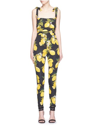 Main View - Click To Enlarge - Dolce & Gabbana - Lemon print ruched silk jumpsuit