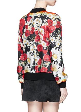 Back View - Click To Enlarge - - - Daisy poppy print silk twill bomber jacket