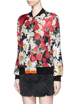 Front View - Click To Enlarge - - - Daisy poppy print silk twill bomber jacket