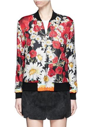 Main View - Click To Enlarge - - - Daisy poppy print silk twill bomber jacket