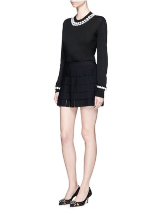 Figure View - Click To Enlarge - Dolce & Gabbana - Daisy macramé cashmere-cotton long sweater