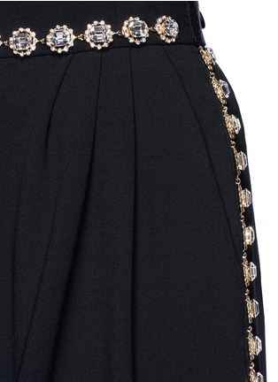 Detail View - Click To Enlarge - Dolce & Gabbana - Bow back crystal wool-cotton pleat culottes