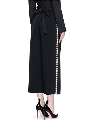 Back View - Click To Enlarge - Dolce & Gabbana - Bow back crystal wool-cotton pleat culottes