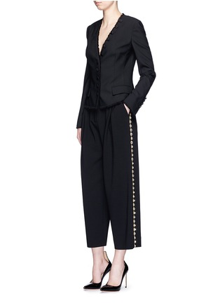Figure View - Click To Enlarge - Dolce & Gabbana - Bow back crystal wool-cotton pleat culottes
