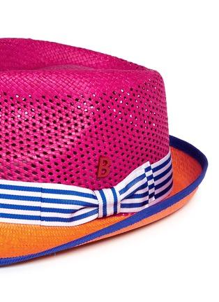 Detail View - Click To Enlarge - MY BOB - 'Trilby Aero' colourblock straw Panama hat
