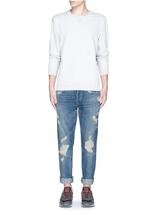 Front View - Click To Enlarge - 3x1 - 'M3' slim fit ripped selvedge jeans
