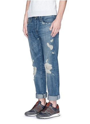 Figure View - Click To Enlarge - 3x1 - 'M3' slim fit ripped selvedge jeans