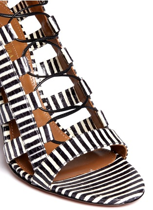 Detail View - Click To Enlarge - Aquazzura - 'Amazon' stripe python leather caged sandals