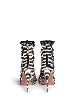 Back View - Click To Enlarge - Aquazzura - 'Amazon' stripe python leather caged sandals