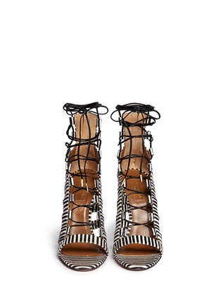 Figure View - Click To Enlarge - Aquazzura - 'Amazon' stripe python leather caged sandals