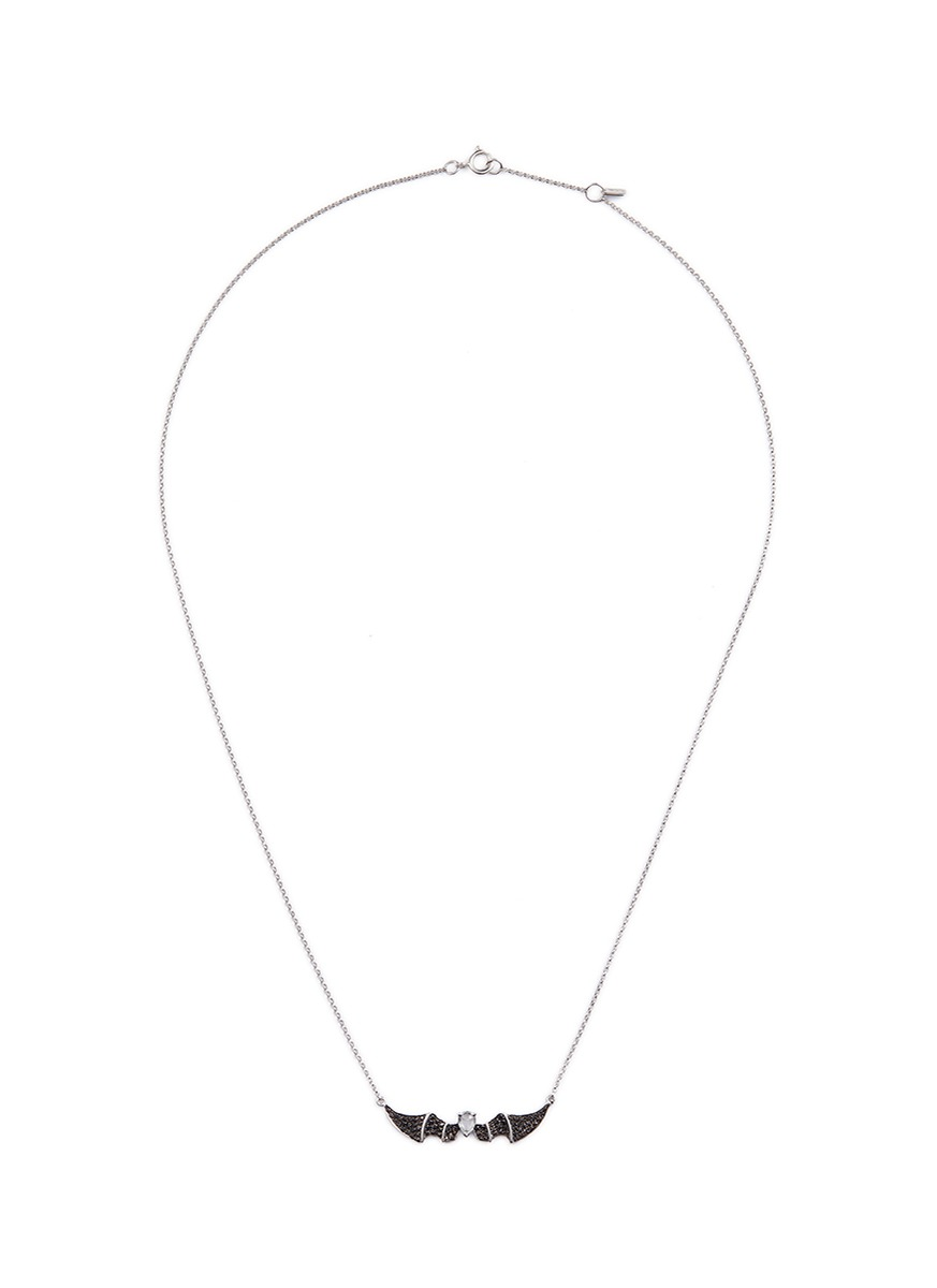 'Alto' black diamond sapphire 18k white gold bat pendant necklace