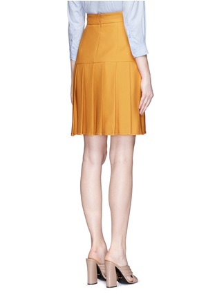 Back View - Click To Enlarge - Gucci - Silk-wool crepe pleat hem skirt