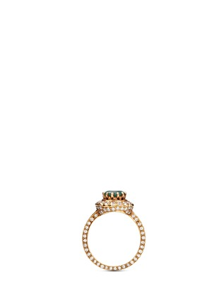Detail View - Click To Enlarge - Aishwarya - Diamond pavé emerald 18k yellow gold plated ring