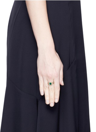 Figure View - Click To Enlarge - Aishwarya - Diamond pavé emerald 18k yellow gold plated ring