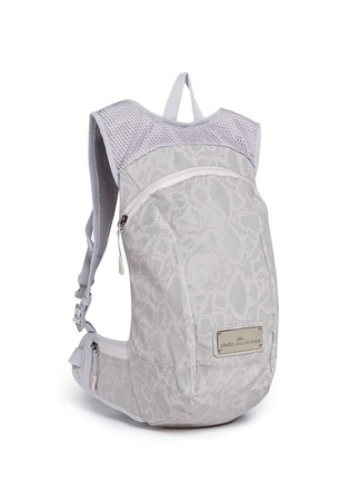 Front View - Click To Enlarge - Adidas By Stella Mccartney - Reflective snakeskin print running backpack
