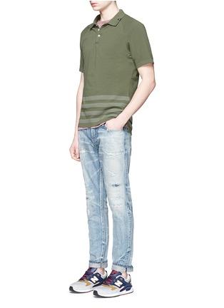 Figure View - Click To Enlarge - Denham - 'Joey' raglan sleeve stripe polo T-shirt