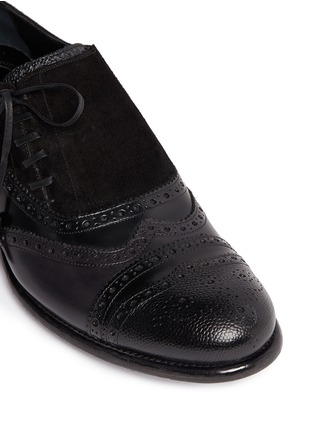 Detail View - Click To Enlarge - Dolce & Gabbana - 'Taormina' side lace-up brogue leather slip-ons