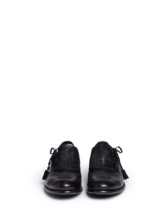 Front View - Click To Enlarge - Dolce & Gabbana - 'Taormina' side lace-up brogue leather slip-ons