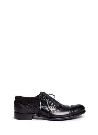 Main View - Click To Enlarge - Dolce & Gabbana - 'Taormina' side lace-up brogue leather slip-ons