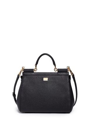 Back View - Click To Enlarge - Dolce & Gabbana - 'Miss Sicily' medium mix cartwheel appliqué leather satchel