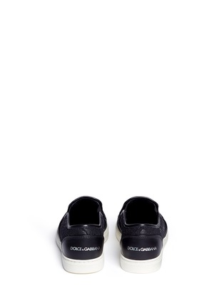 Back View - Click To Enlarge - Dolce & Gabbana - Taormina lace leather skate slip-ons
