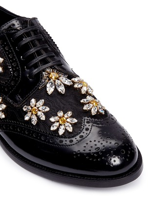 Detail View - Click To Enlarge - Dolce & Gabbana - 'Boy' jewelled daisy jacquard leather brogues
