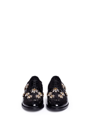 Front View - Click To Enlarge - Dolce & Gabbana - 'Boy' jewelled daisy jacquard leather brogues