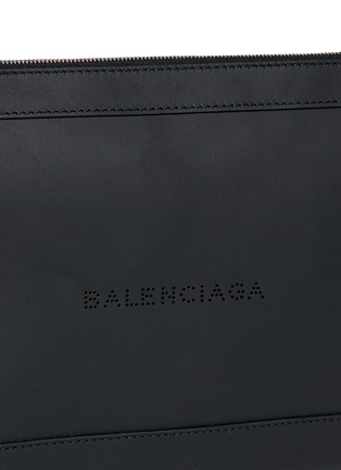 Detail View - Click To Enlarge - BALENCIAGA - Navy Clip' medium perforated logo leather zip pouch