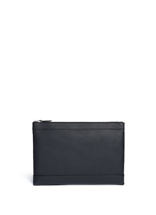 Back View - Click To Enlarge - BALENCIAGA - Navy Clip' medium perforated logo leather zip pouch