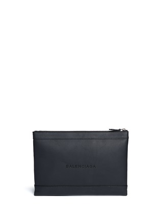 Main View - Click To Enlarge - BALENCIAGA - Navy Clip' medium perforated logo leather zip pouch