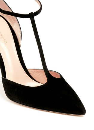 Detail View - Click To Enlarge - Gianvito Rossi - 'Romy' T-bar suede pumps