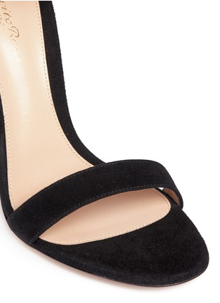 Detail View - Click To Enlarge - Gianvito Rossi - Lace cuff suede sandals