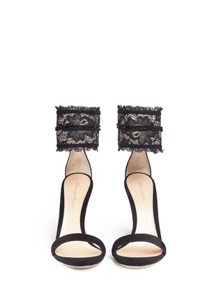 Front View - Click To Enlarge - Gianvito Rossi - Lace cuff suede sandals