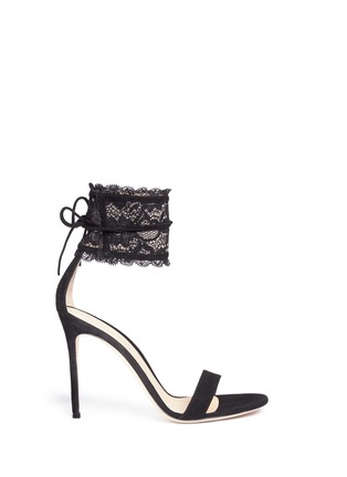 Main View - Click To Enlarge - Gianvito Rossi - Lace cuff suede sandals