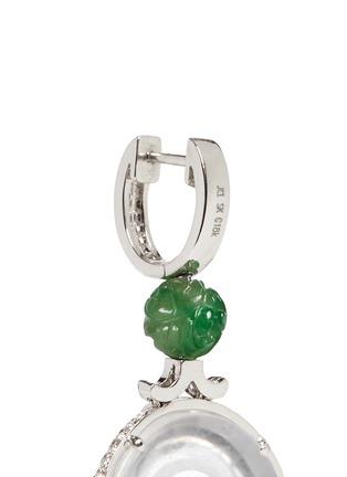Detail View - Click To Enlarge - Samuel Kung - Diamond garnet jade disc drop earrings