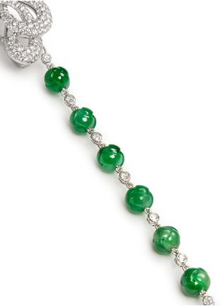 Detail View - Click To Enlarge - Samuel Kung - Jade bead diamond drop asymmetric earring