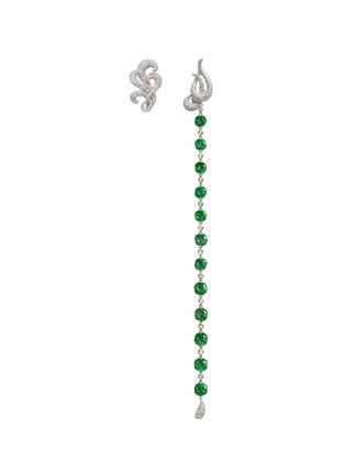Main View - Click To Enlarge - Samuel Kung - Jade bead diamond drop asymmetric earring