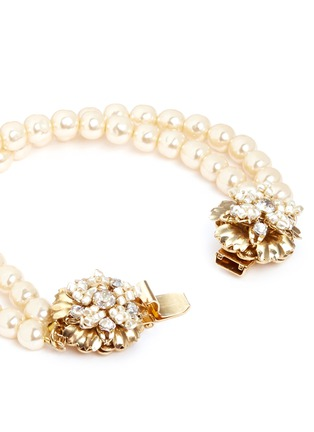 Detail View - Click To Enlarge - Miriam Haskell - Crystal floral clasp pearl bracelet