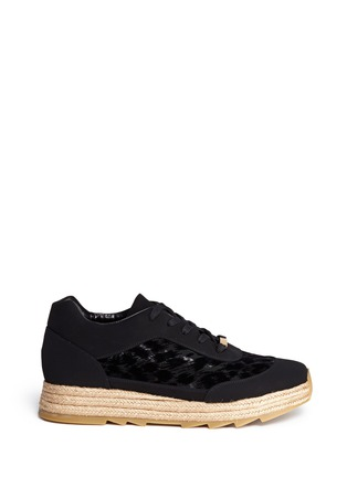 Main View - Click To Enlarge - Stella McCartney - Velvet flock espadrille sneakers