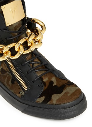 Detail View - Click To Enlarge - Giuseppe Zanotti Design - 'London' camouflage pony hair sneakers
