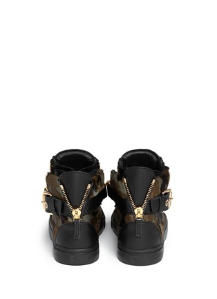 Back View - Click To Enlarge - Giuseppe Zanotti Design - 'London' camouflage pony hair sneakers