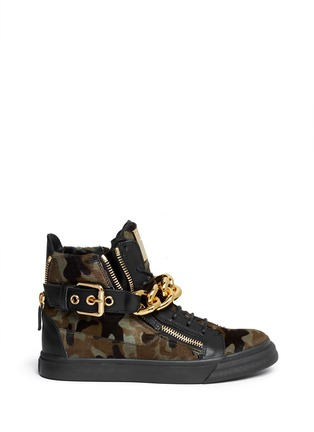 Main View - Click To Enlarge - Giuseppe Zanotti Design - 'London' camouflage pony hair sneakers