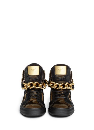 Figure View - Click To Enlarge - Giuseppe Zanotti Design - 'London' camouflage pony hair sneakers