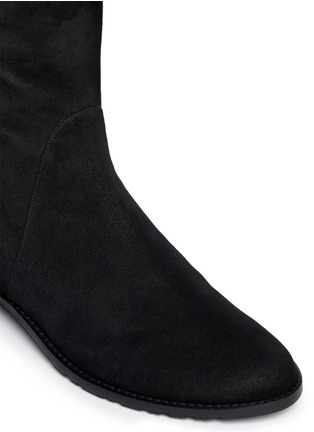 Detail View - Click To Enlarge - STUART WEITZMAN - 'Needaride' high-low suede boots