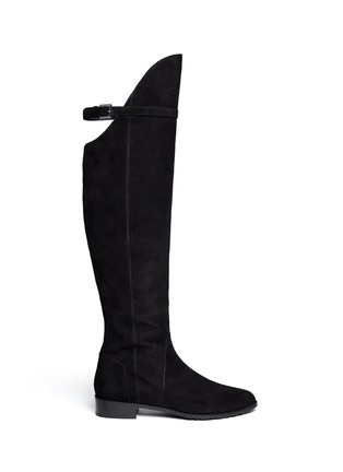 Main View - Click To Enlarge - STUART WEITZMAN - 'Needaride' high-low suede boots