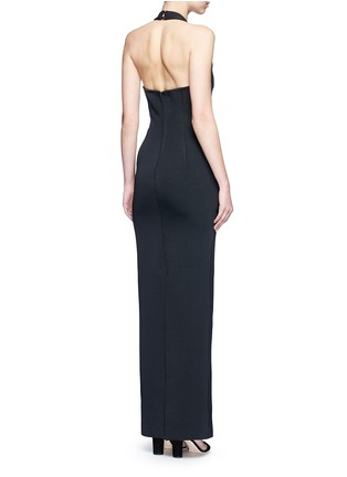Back View - Click To Enlarge - Nicholas - Bandage collar plunge keyhole lace trim gown