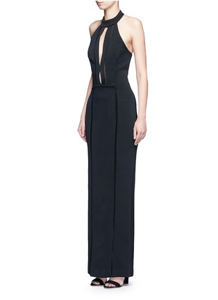 Figure View - Click To Enlarge - Nicholas - Bandage collar plunge keyhole lace trim gown