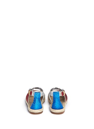 Back View - Click To Enlarge - Stella Mccartney Kids - 'Raspberry' colourblock metallic glitter kids sandals