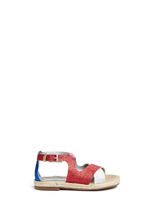 Main View - Click To Enlarge - Stella Mccartney Kids - 'Raspberry' colourblock metallic glitter kids sandals